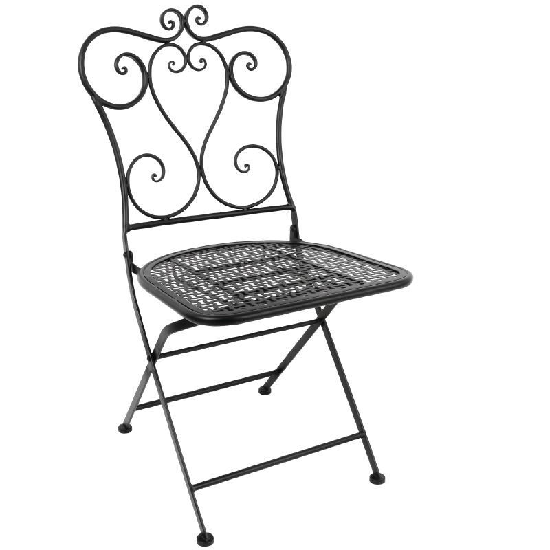 Chaise de patio pliante classique en acier Bolero noire (lot de 2)
