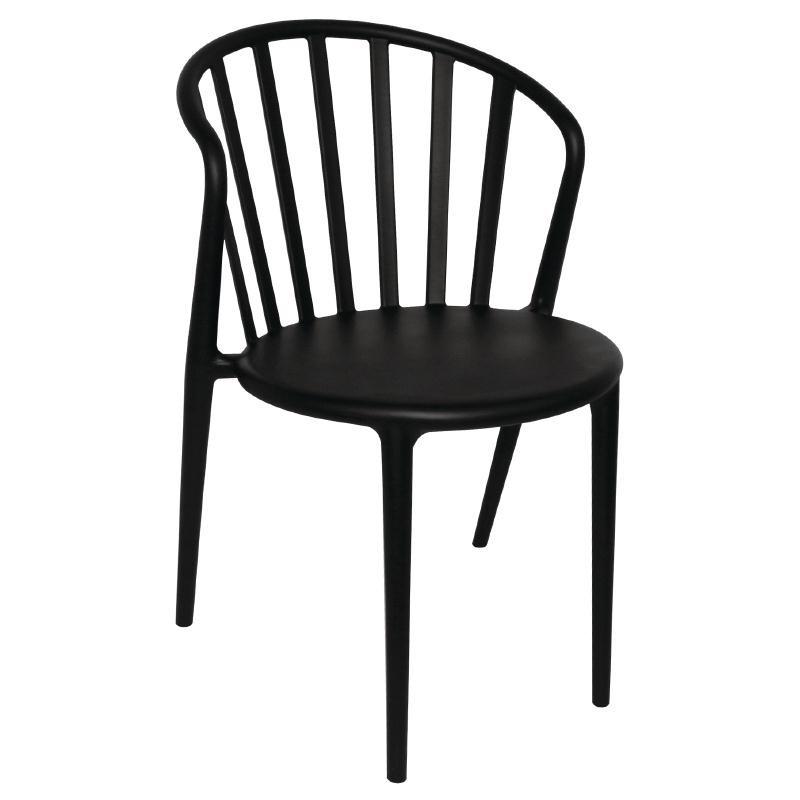 Chaises à barreaux design en PP noires par 4