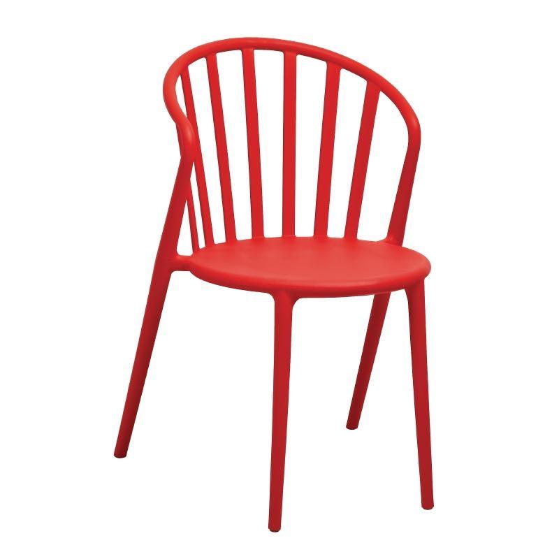 Chaises à barreaux en PP design rouges par 4