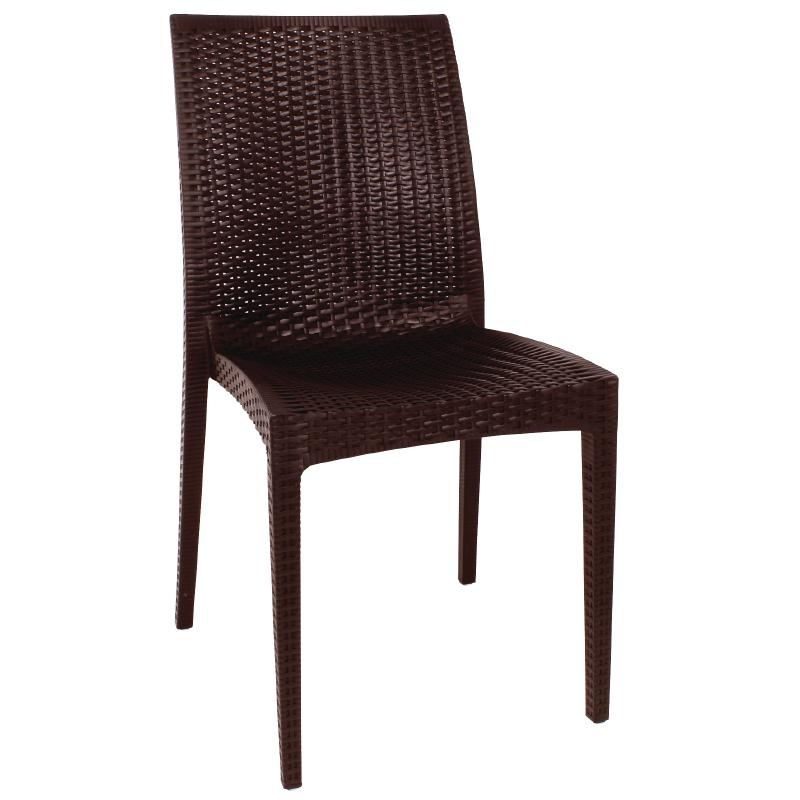 Chaise bistro en rotin PP marron lot de 4