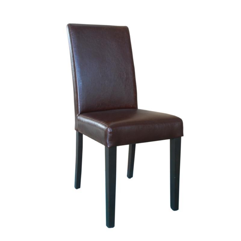 Chaise dossier haut en simili cuir marron foncé patiné x2