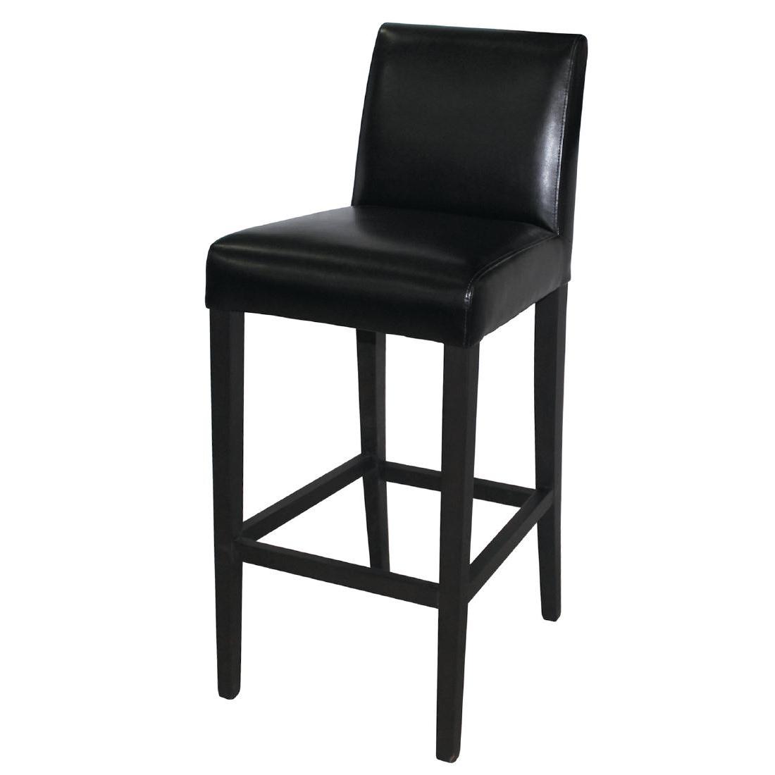 Tabouret de bar haut avec dossier en simili cuir noir