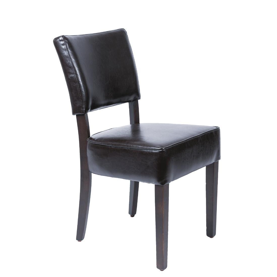Chaises confortables en simili cuir marron foncé x2