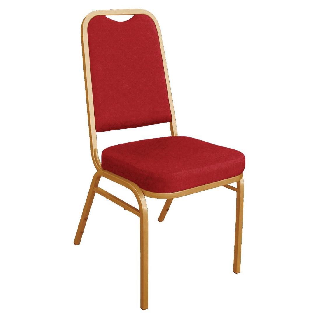 Chaises de banquet à dossier carré rouges x4