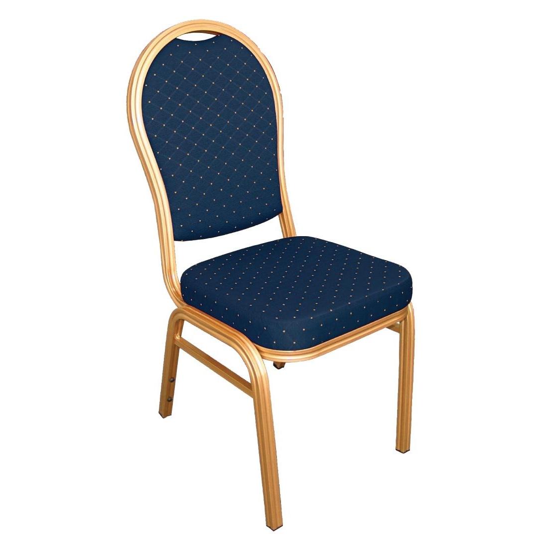 Chaises de banquet en aluminium à dossier arrondi bleues par 4