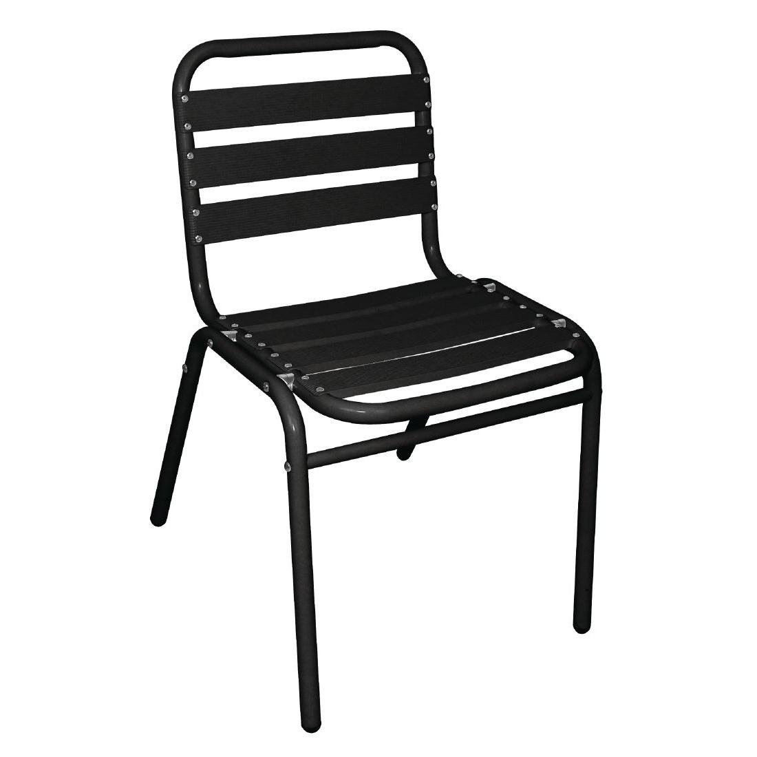 Chaises bistro en aluminium noires x4