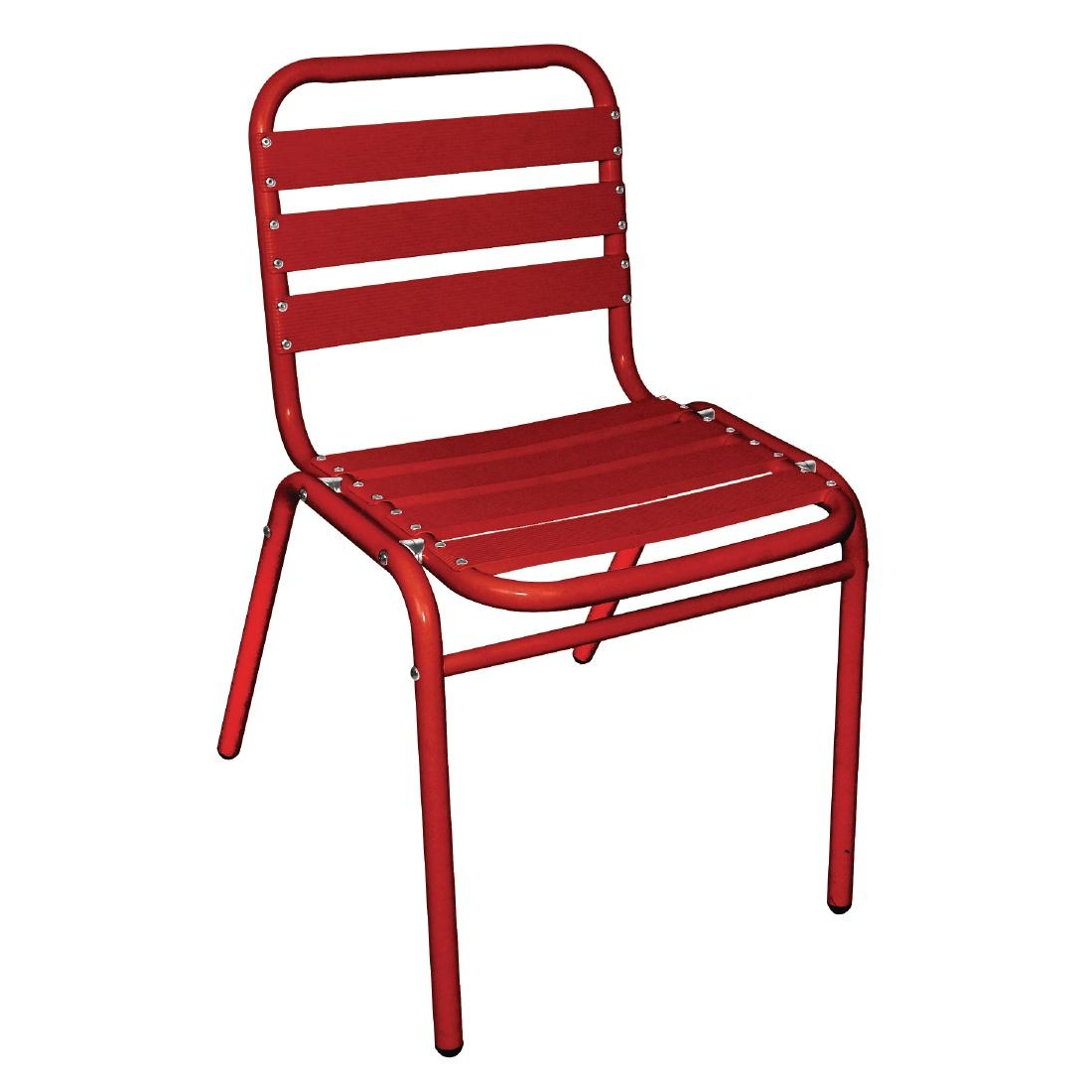 Chaises bistro en aluminium rouges x4