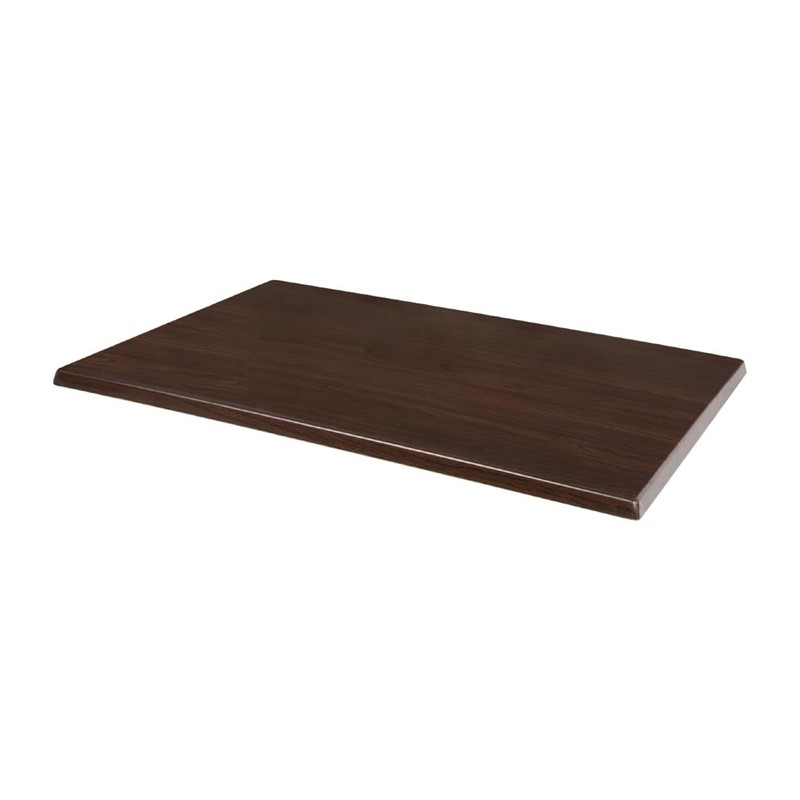 Plateau de table rectangulaire pré percé Bolero coloris marron foncé