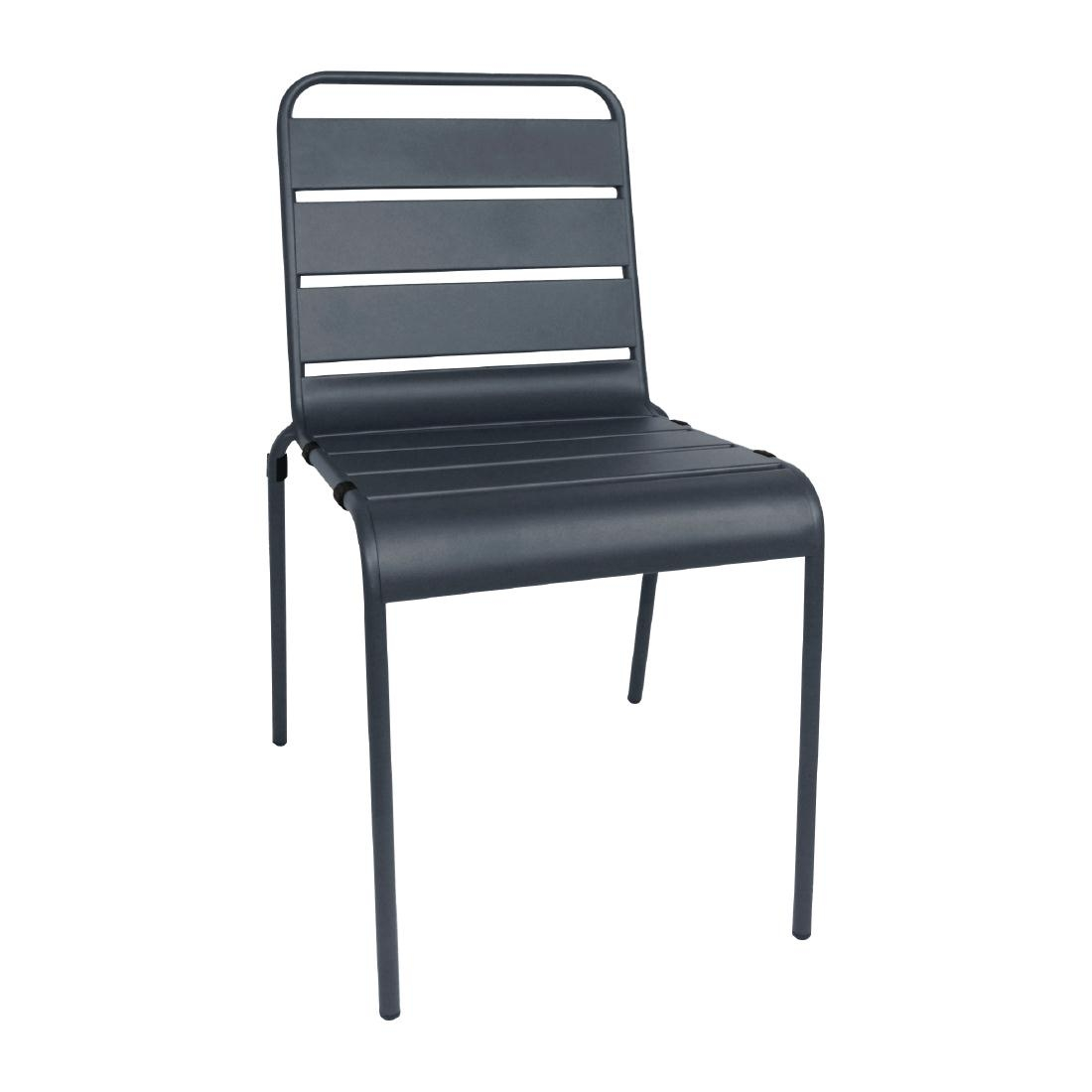 Chaise à lattes en acier gris lot de 4