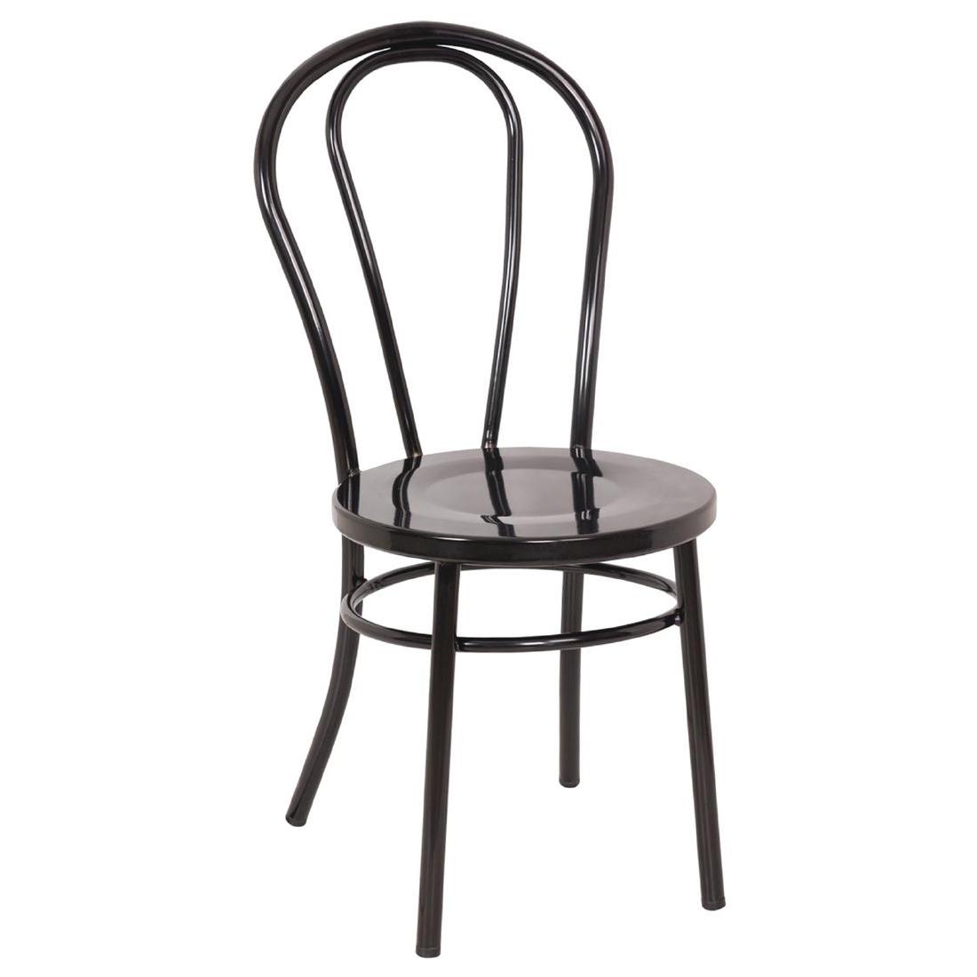 Chaises style bois courbé en acier noires x2