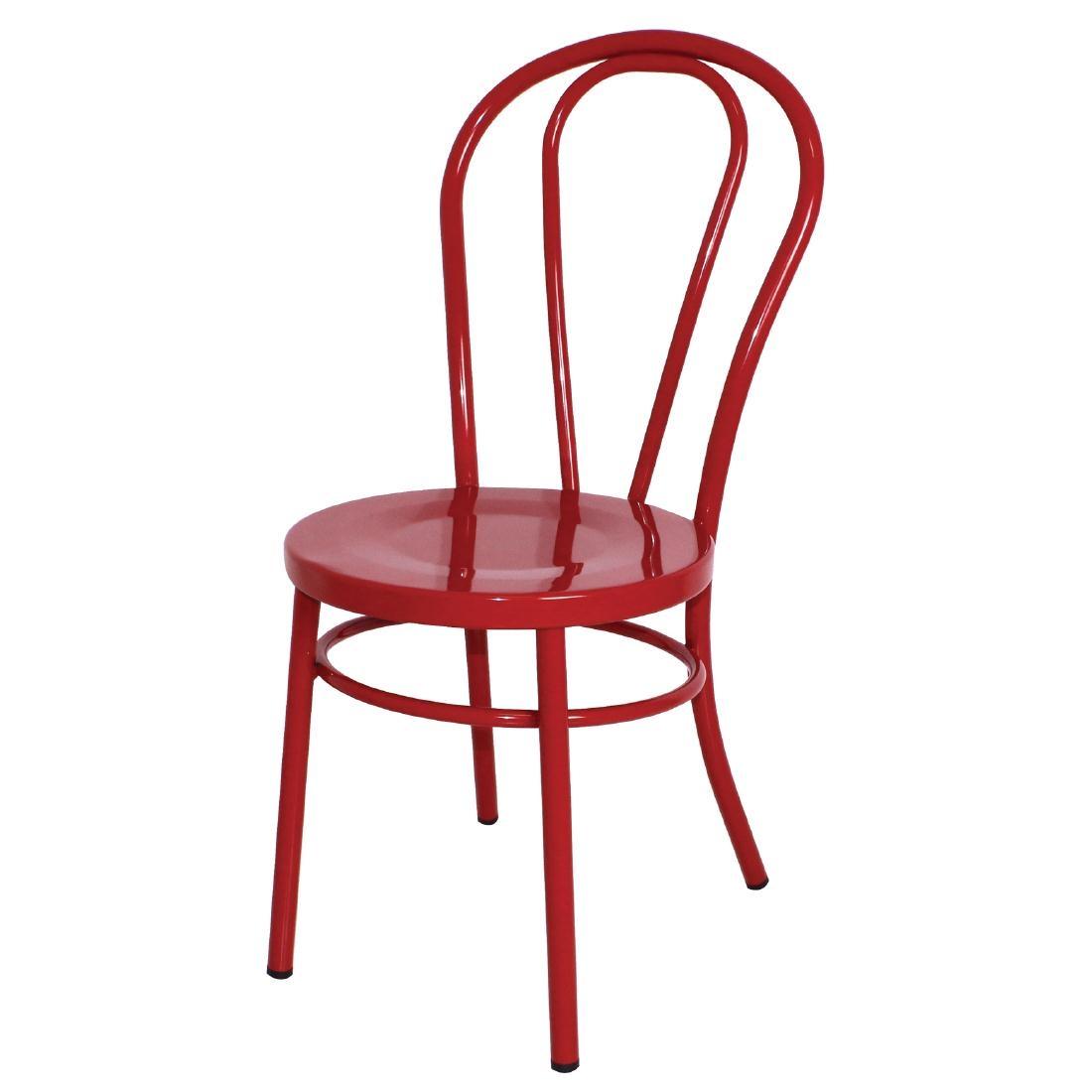 Chaises style bois courbé en acier rouges x2