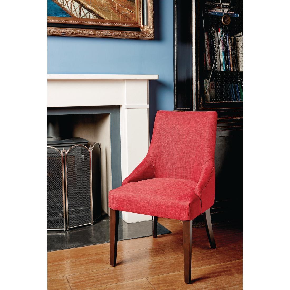 Chaise restauration tendance Finesse rouge foncé x2