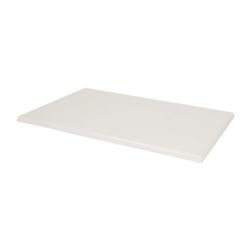 Plateau de table rectangulaire pré percé Bolero coloris blanc
