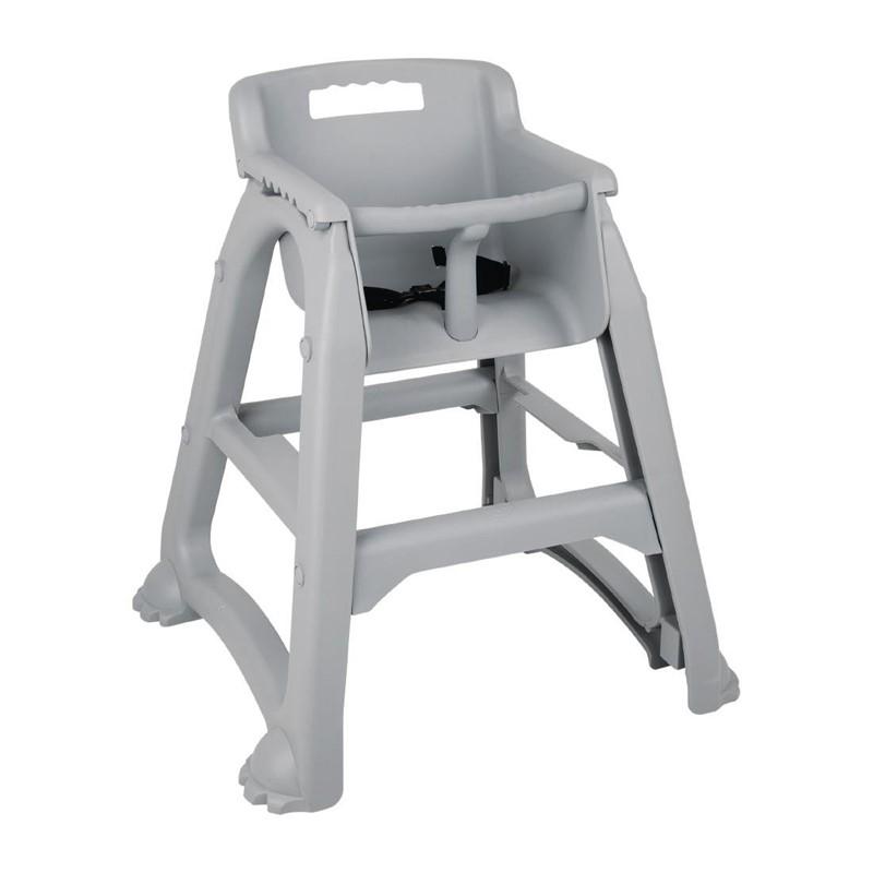 Chaise haute empilable grise en polypropylène Bolero