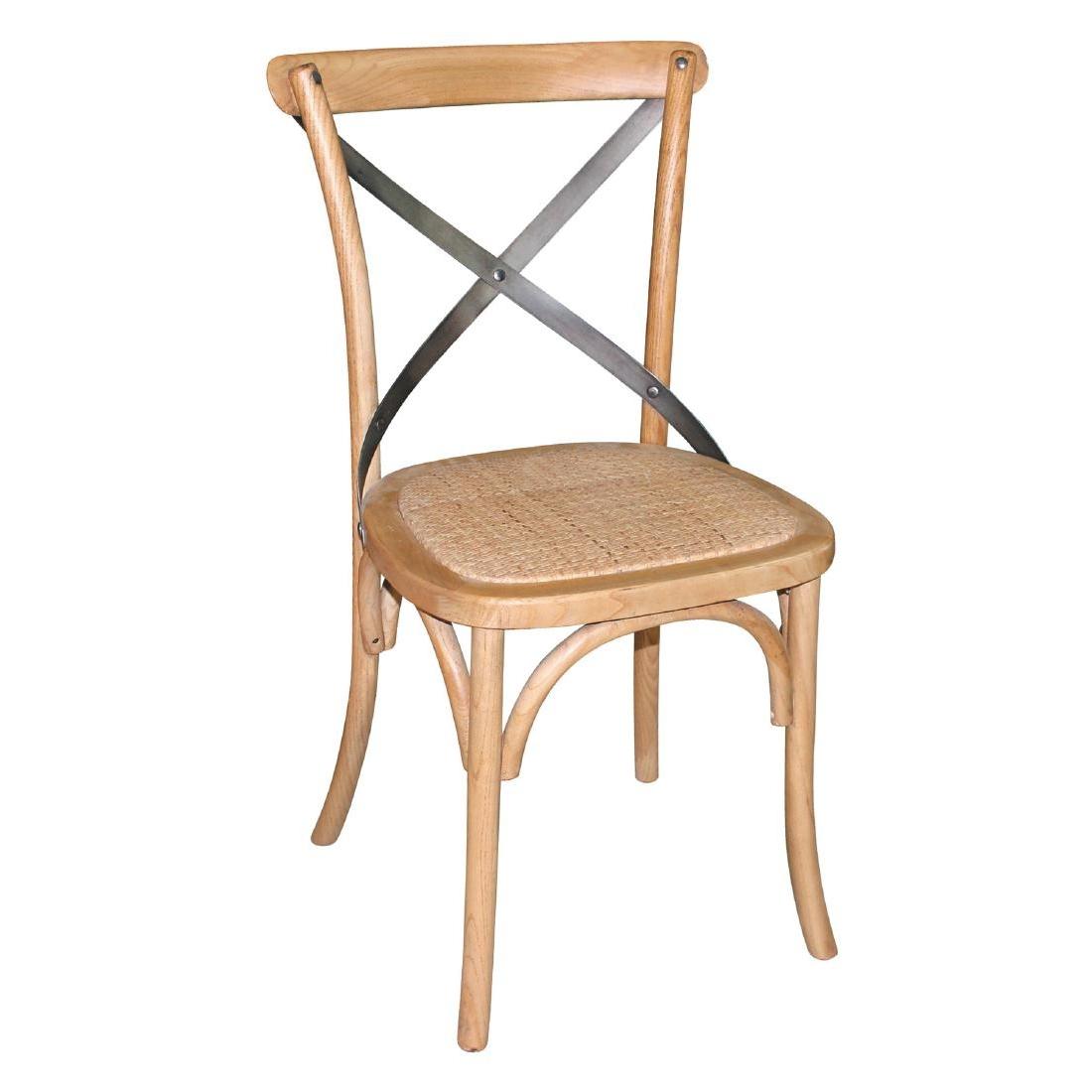 Chaises en bois patiné avec dossier croisé naturel x2