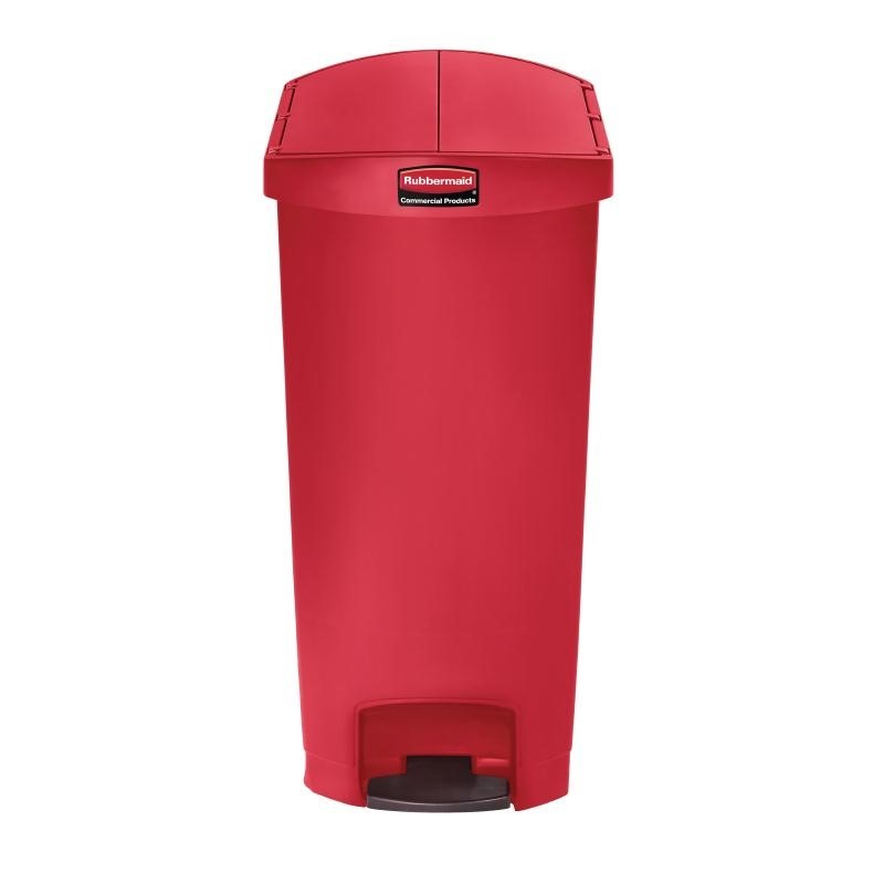 Poubelle à pédale latérale Rubbermaid Slim Jim 68L rouge