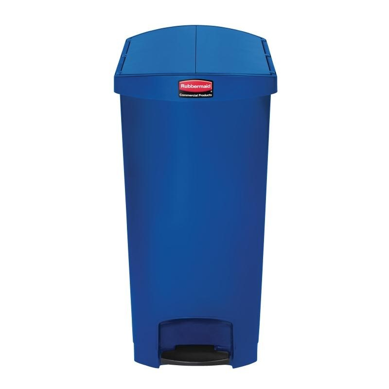 Poubelle à pédale frontale étroite Slim Jim End Step on Rubbermaid bleue 90L
