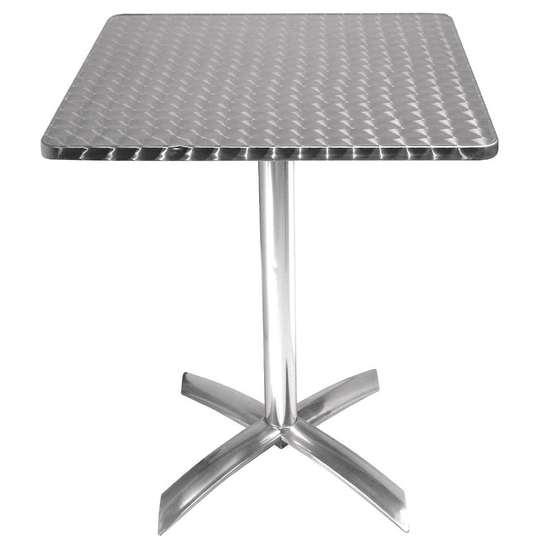 Table carrée à plateau basculant Inox