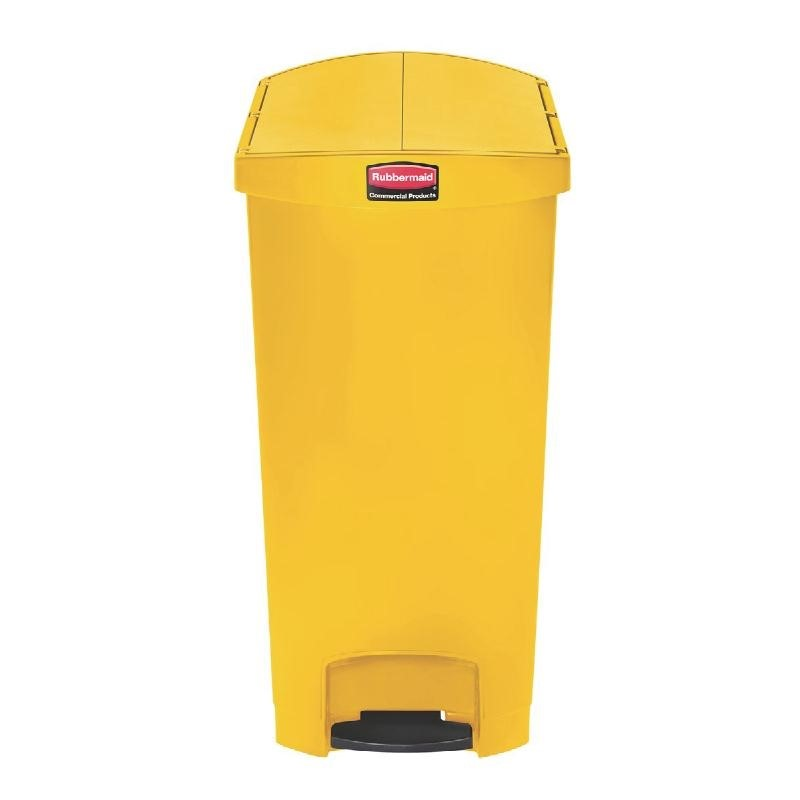 Poubelle à pédale frontale étroite Slim Jim End Step on Rubbermaid jaune 90L