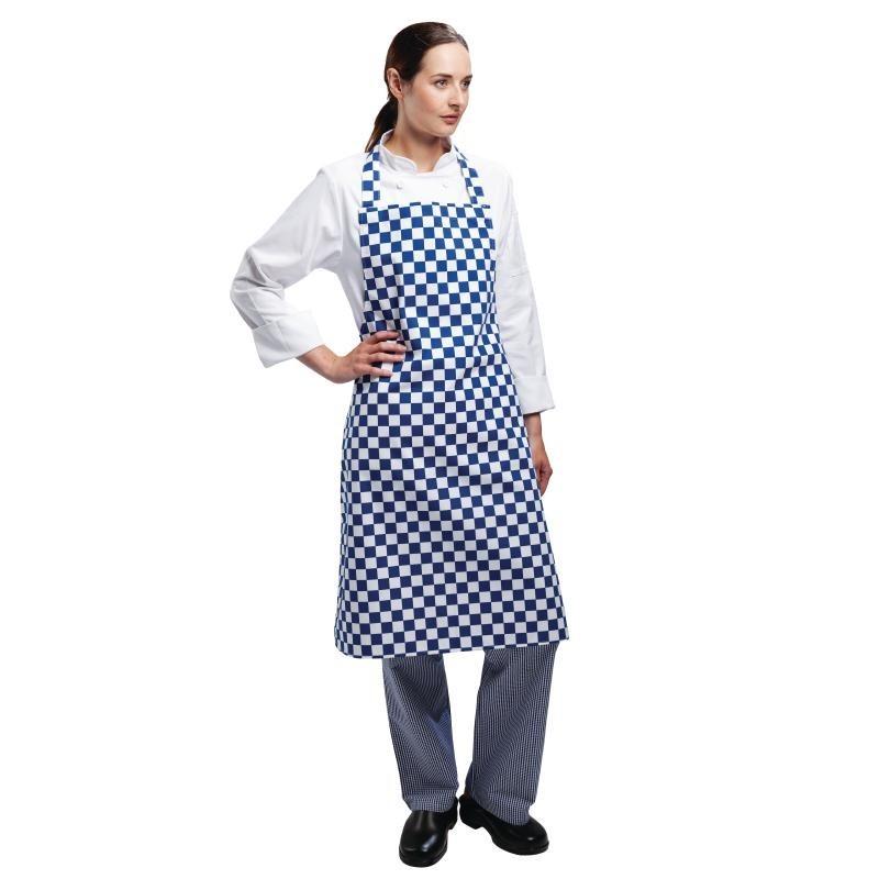 Tablier à bavette Whites carreaux bleus et blancs