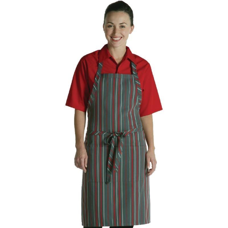 Tablier à bavette Chef Works rayures rouges et grises
