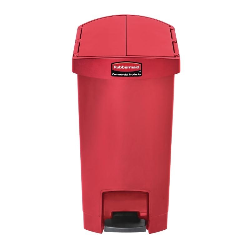 Poubelle à pédale latérale Rubbermaid Slim Jim 30L rouge