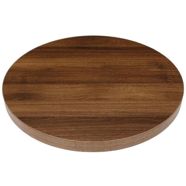 Plateau de table carré Bolero 600mm épaisseur 48mm effet bois chêne rustique
