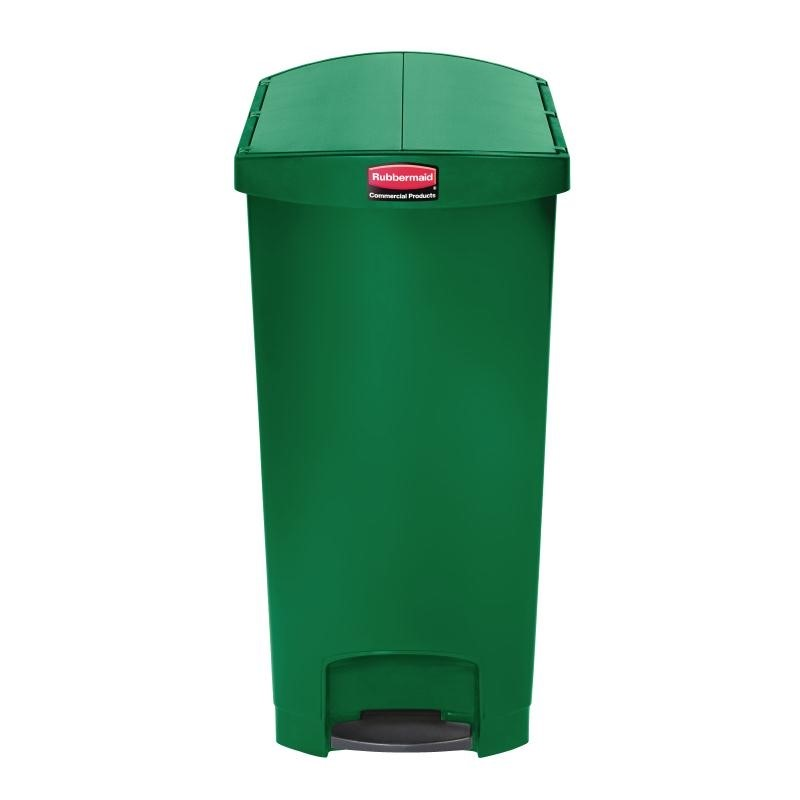 Poubelle à pédale frontale étroite Slim Jim End Step on Rubbermaid verte 90L