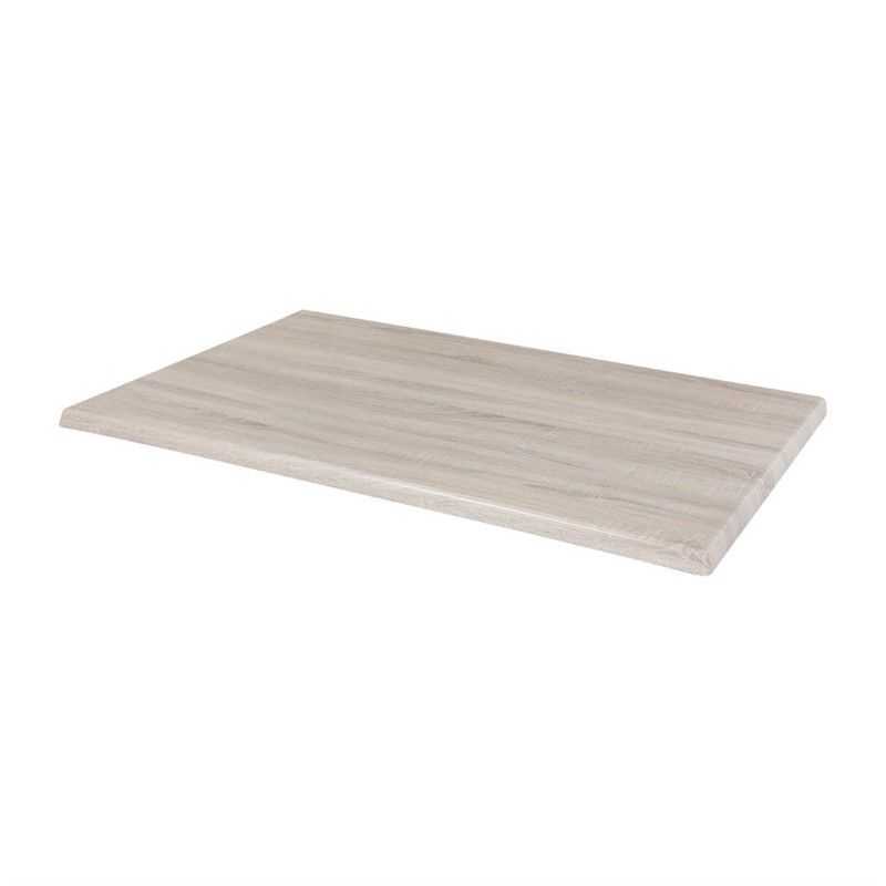 Plateau de table rectangulaire pré percé Bolero coloris bois blanchi
