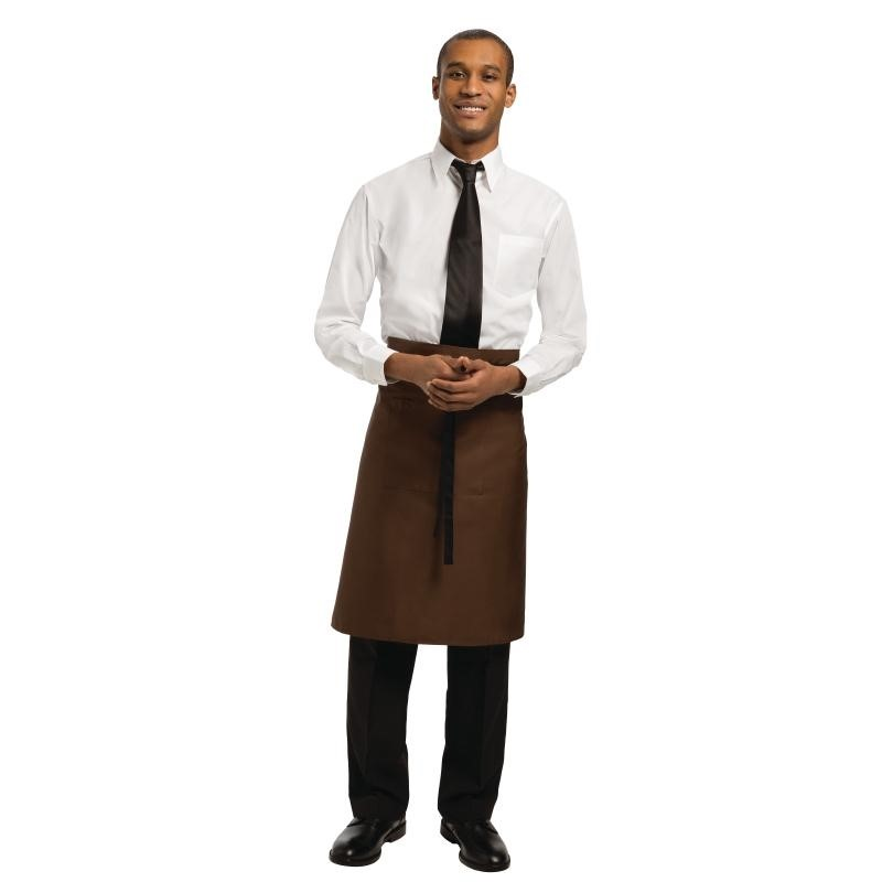 Tablier bistro mi-long Uniform Works marron chocolat