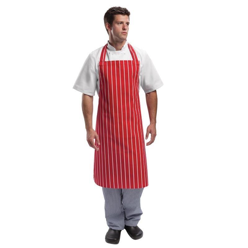 Tablier à bavette Whites rayé rouge et blanc