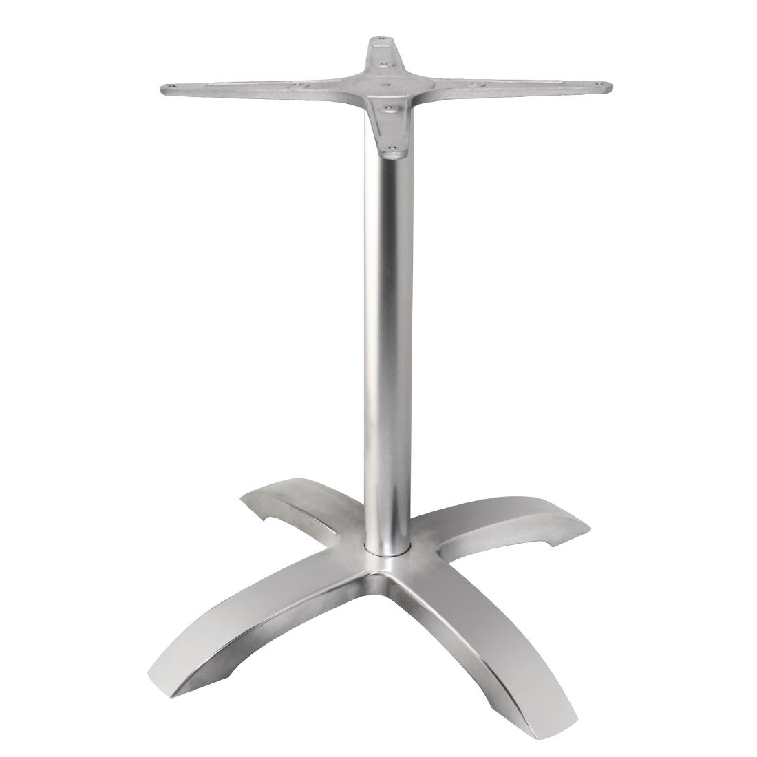 Pied de table base 4 branches aluminium brossé