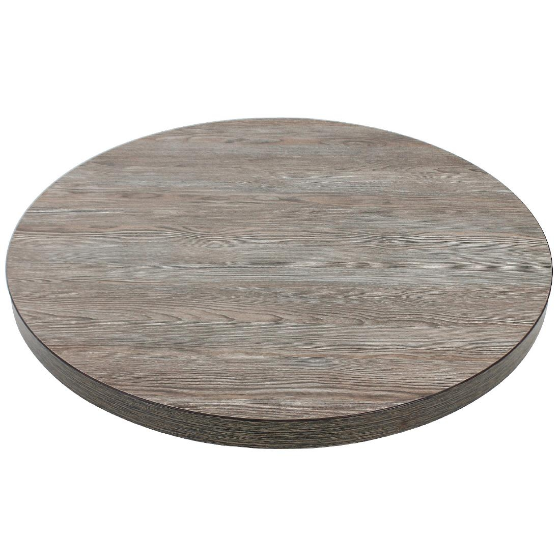 Plateau de table rond 600mm épaisseur 48mm effet bois gris
