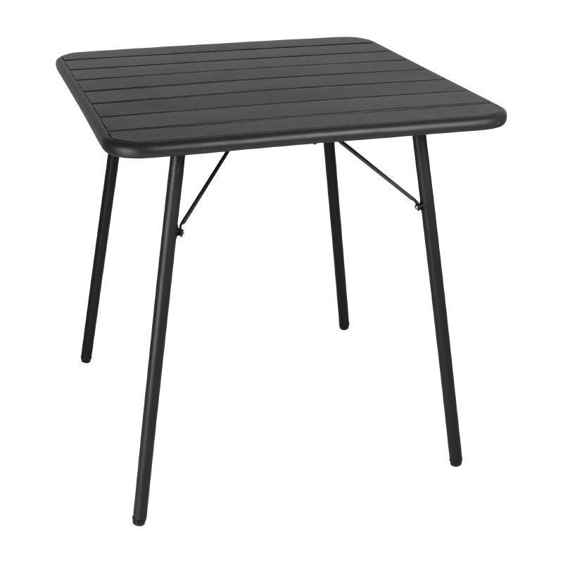 Table à lattes carrée en acier 700mm noire