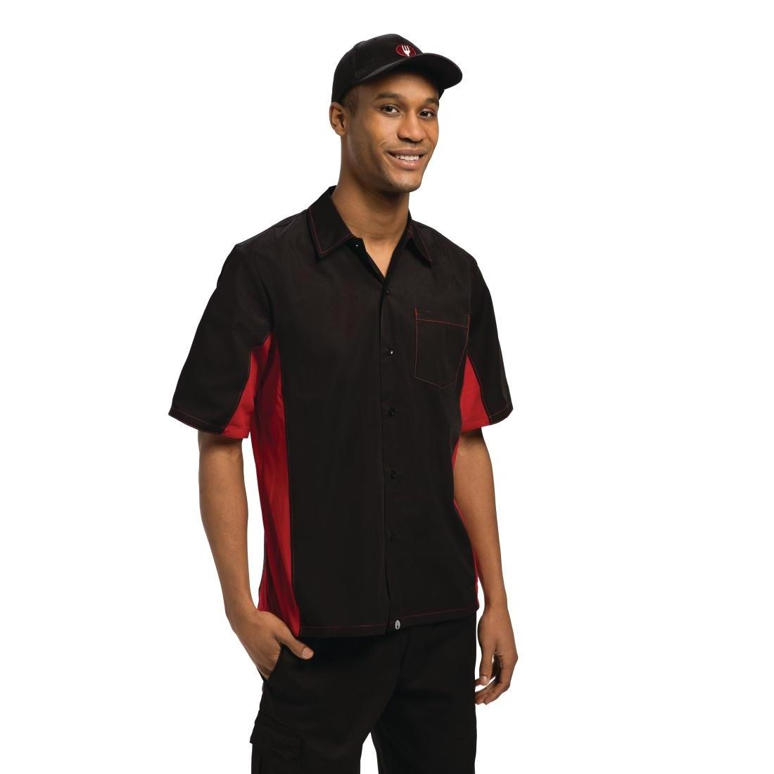 Chemise contraste noire et rouge