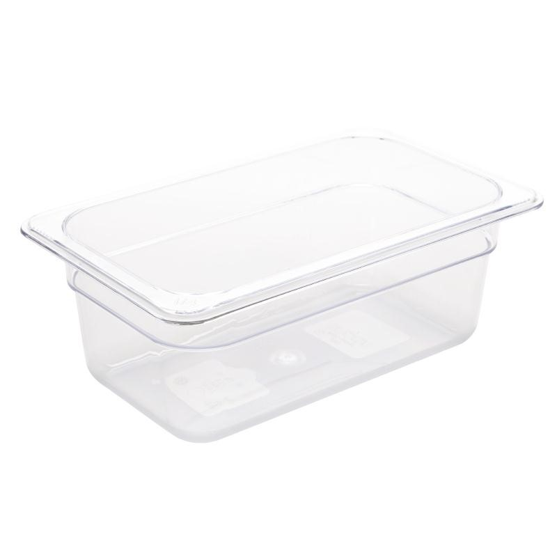 Bac Gastronorme en polycarbonate transparent un quart 100mm GN 1/4