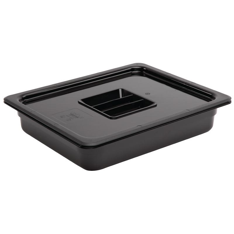 Bac Gastronorme en polycarbonate noir un demi 65mm Vogue