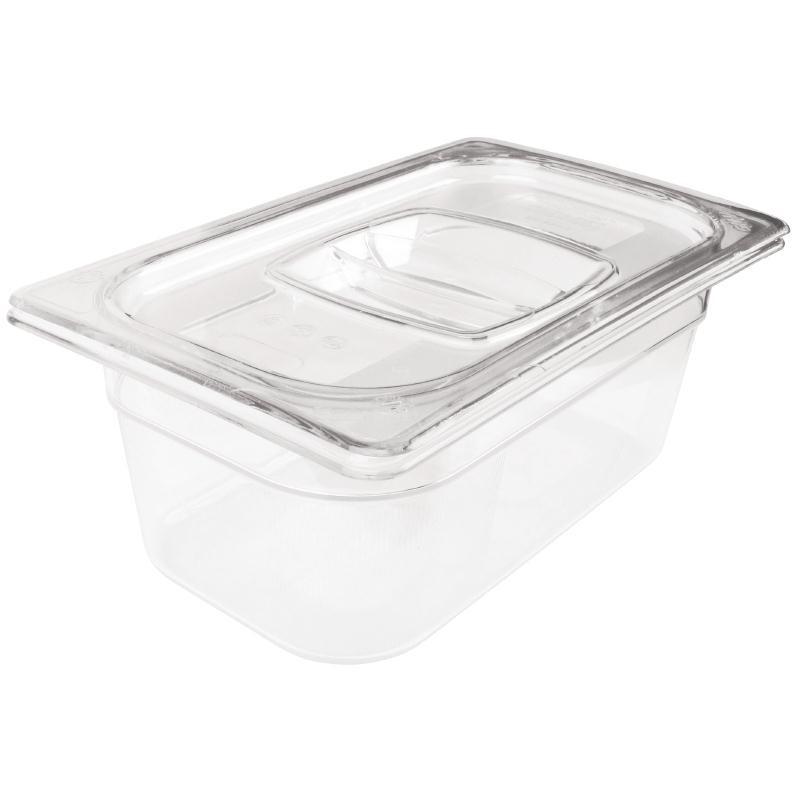 Bac Gastronorme en polycarbonate transparent un quart 100mm Rubbermaid