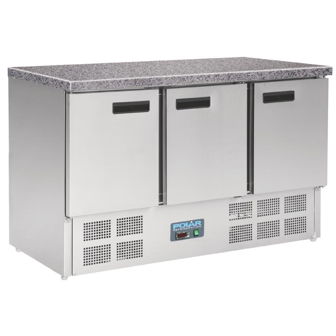 Table réfrigérée positive plan de travail en marbre 3 portes 368L