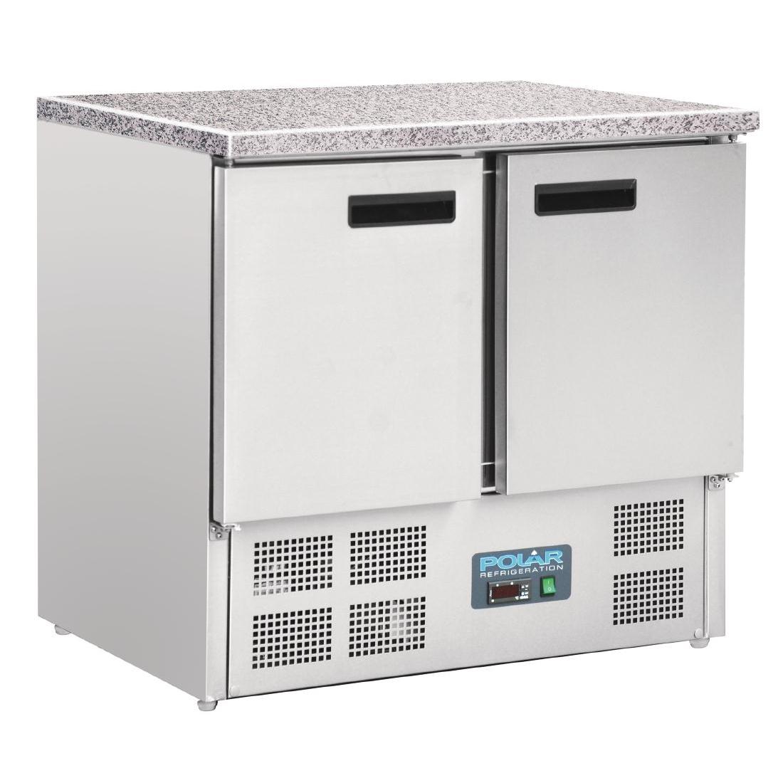 Table réfrigérée positive plan de travail en marbre 2 portes 240L
