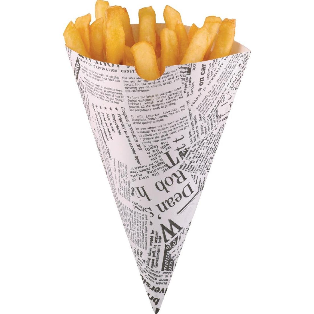 Cornets à frites recyclables et biodégradables papier imprimé Colpac