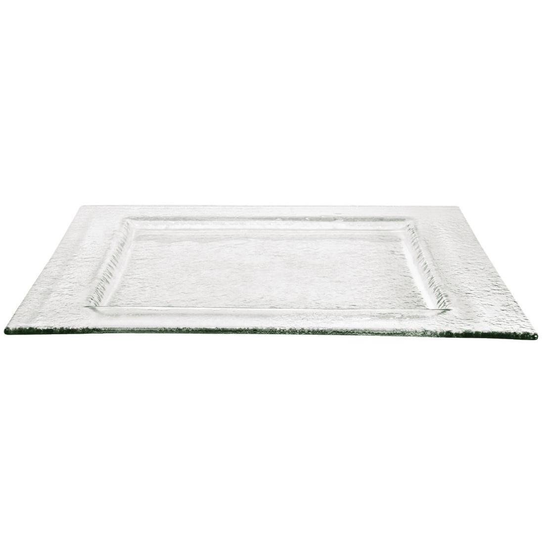 Assiette carrée en verre Olympia transparente 320mm par 4