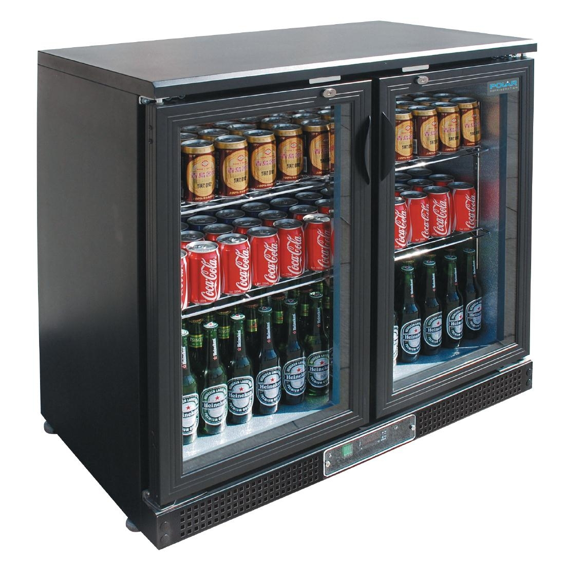 Arrière-bar double porte pivotante Polar Série G 168 bouteilles