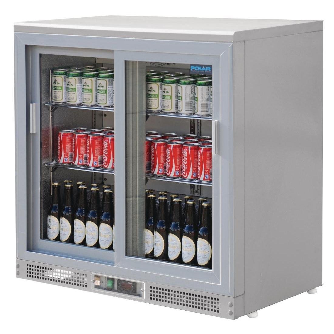 Arrière bar gris argent 180 bouteilles 223L
