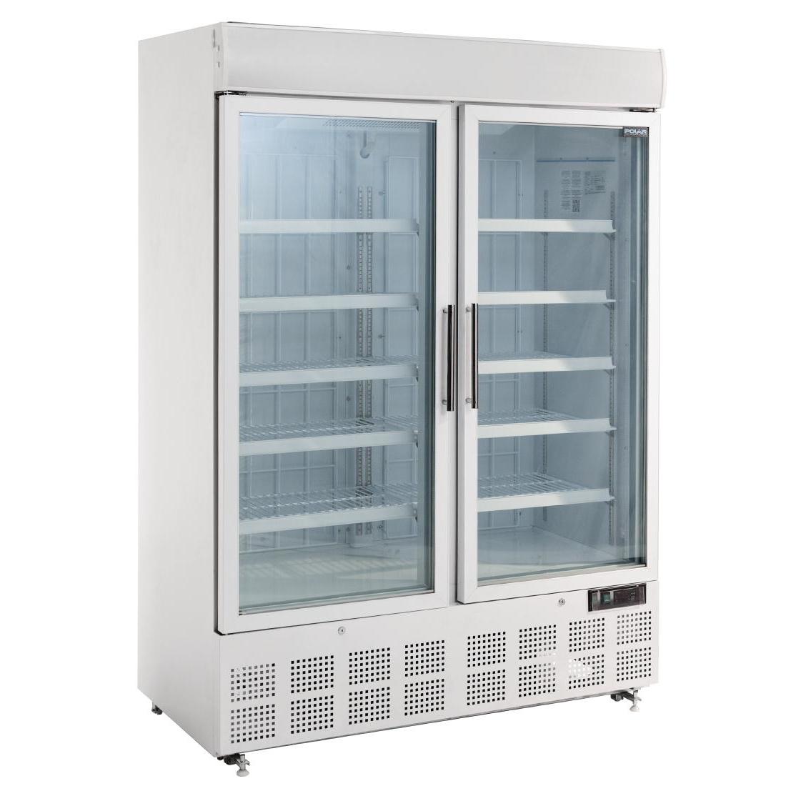 Vitrine réfrigérée négative deux portes avec bandeau lumineux 920L
