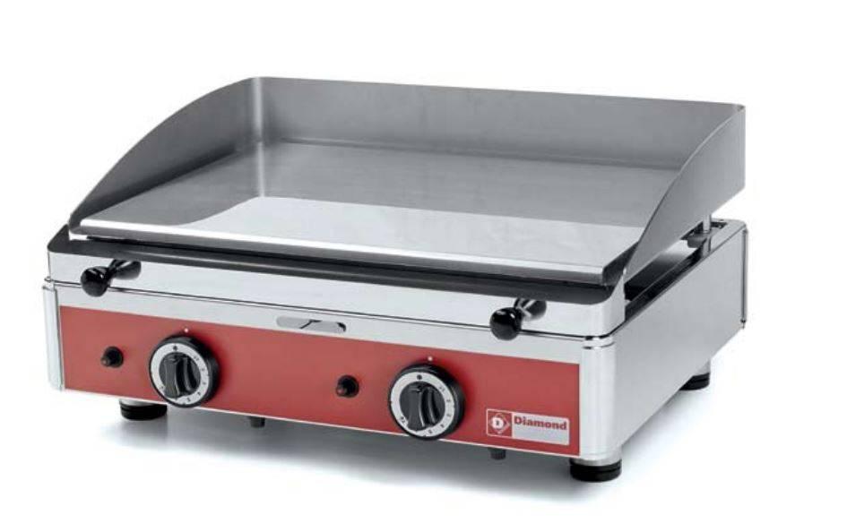 Plaque de cuisson lisse, Plancha chromée, gaz, 555 x 400