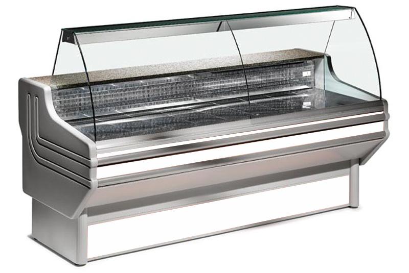 Comptoir vitrine réfrigéré à vitre bombée avec réserve