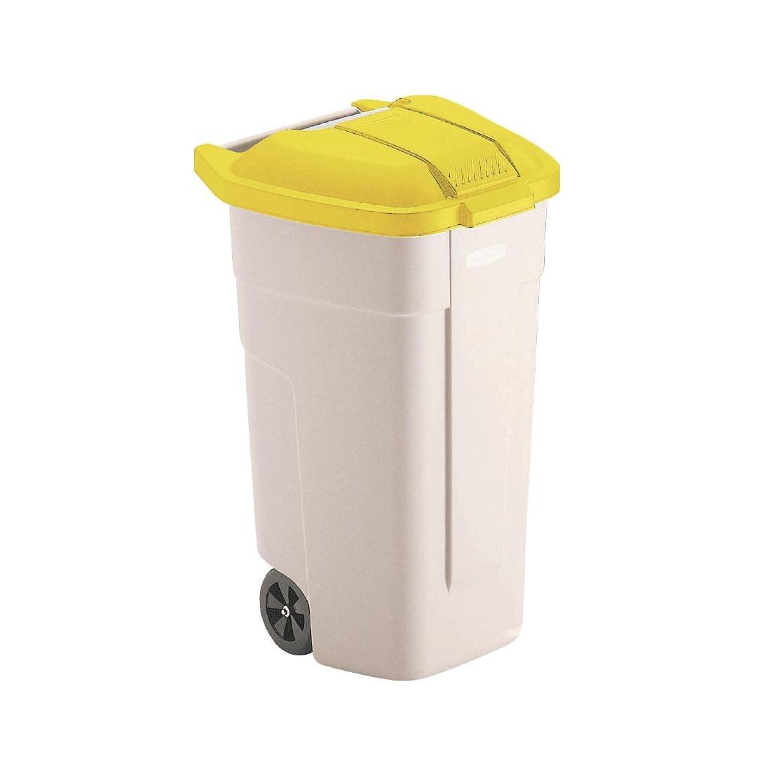 Conteneur roulant Rubbermaid 100L couvercle jaune