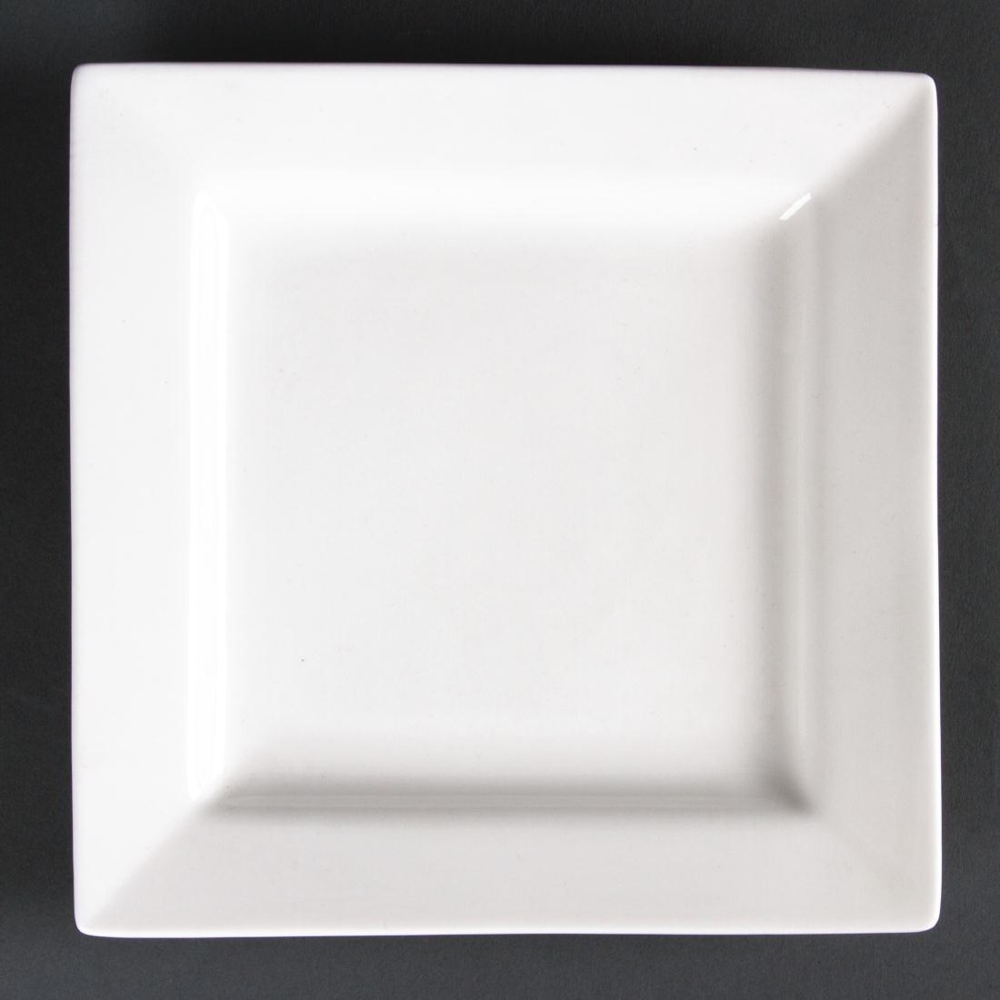 Assiettes carrées Lumina Fine China 265mm par 4