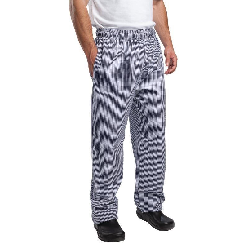 Pantalon de cuisinier unisexe petits carreaux bleus et blancs